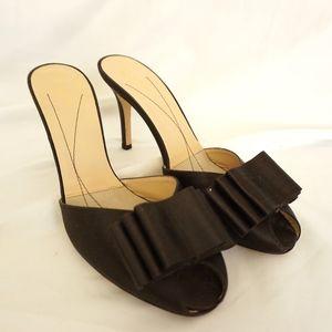 Kate Spade Brown with Bow Satin Kitten Heel Sandal